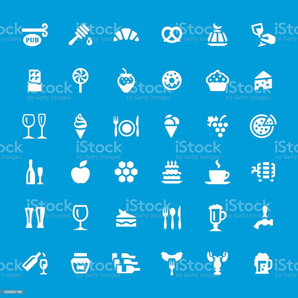 Food and Drink vector icons set vector art illustration