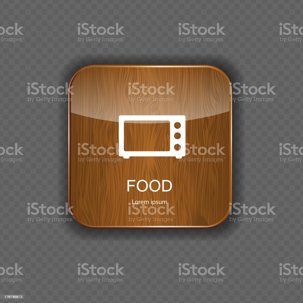 Food and drink wood application icons royalty-free stock vector art