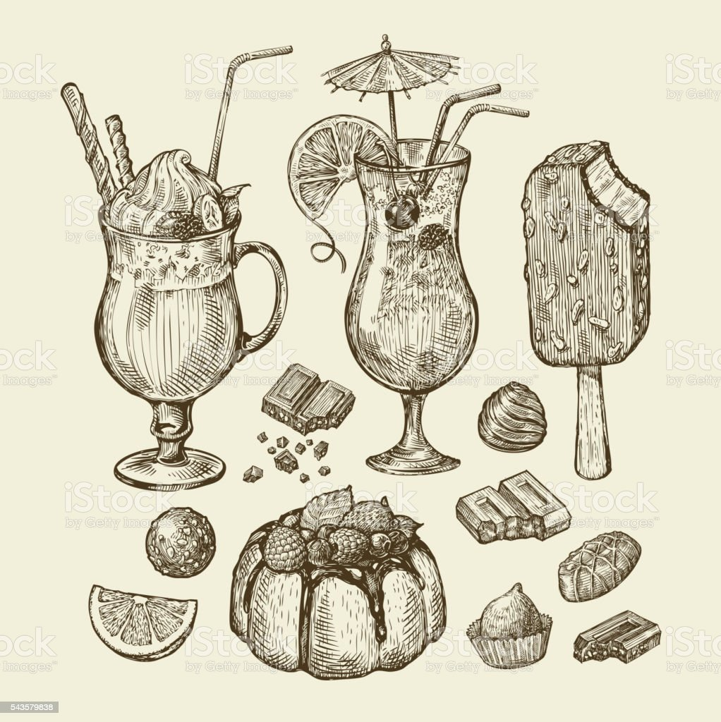 Food and drinks. Hand drawn cocktail, smoothie, pie, pasty, cake vector art illustration