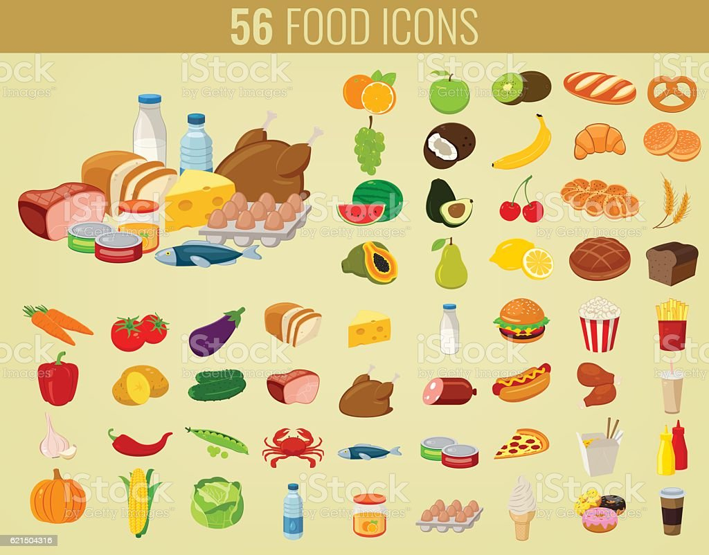 Food and drinks icons set. Flat design icons. Vector royalty-free stock vector art