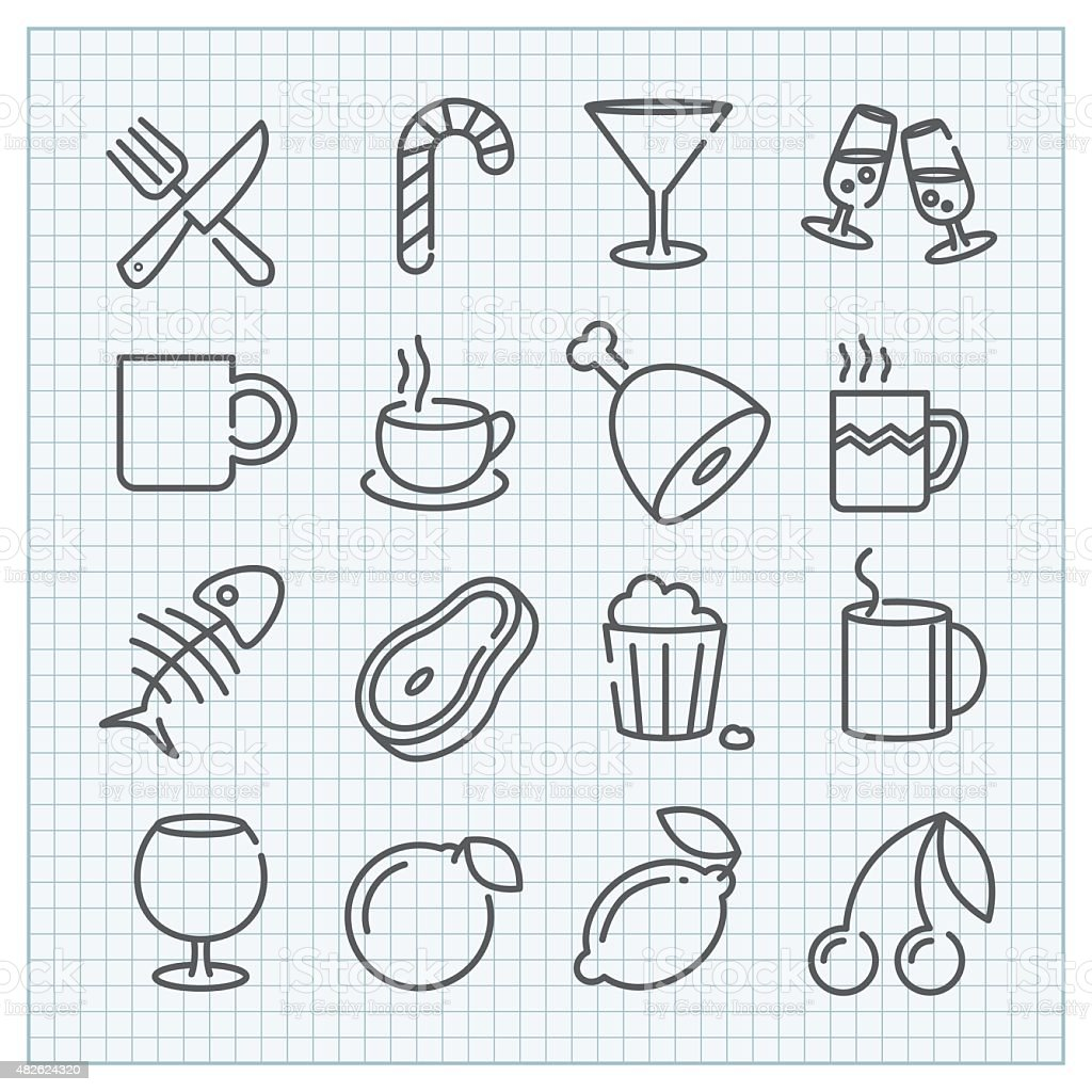 Food and drinks icons set vector art illustration