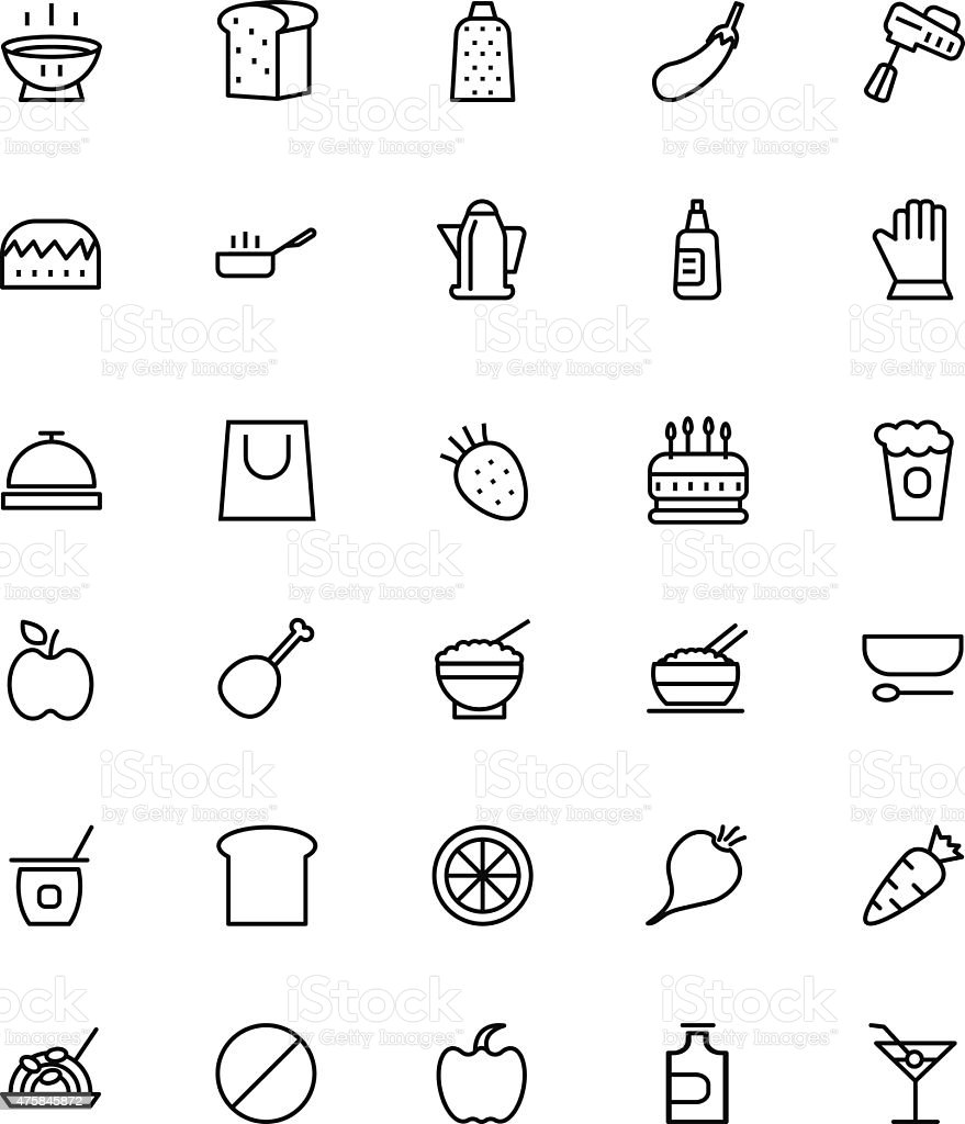 Food and drinks Line Icons 7 vector art illustration