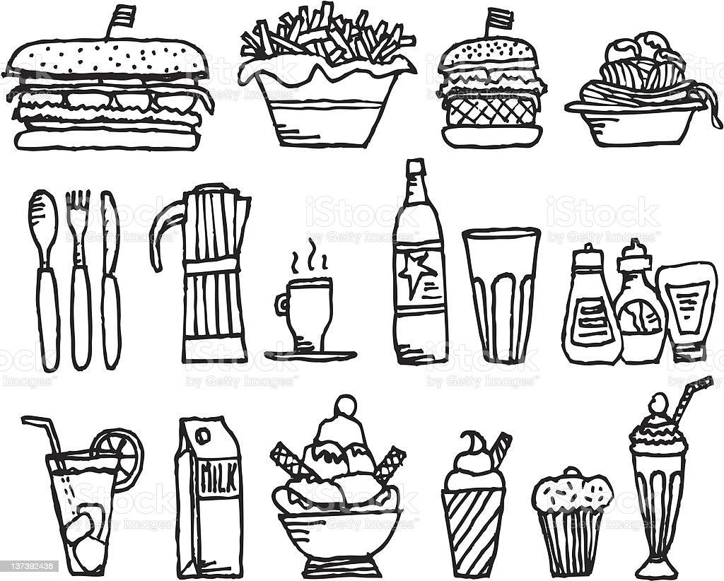 Food and drinks / Restaurant stuff vector art illustration