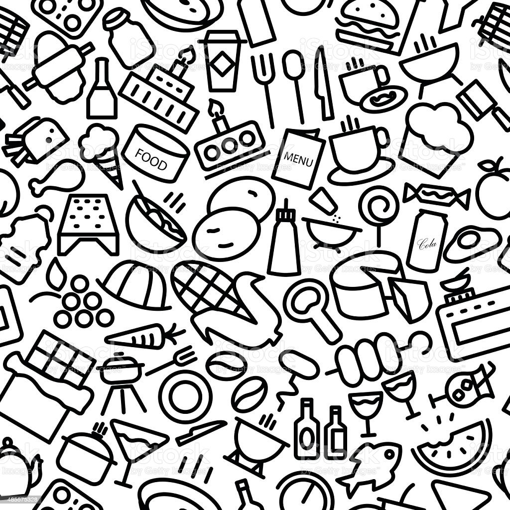 Food and Drinks Seamless Sketchy Icon Pattern Illustration vector art illustration