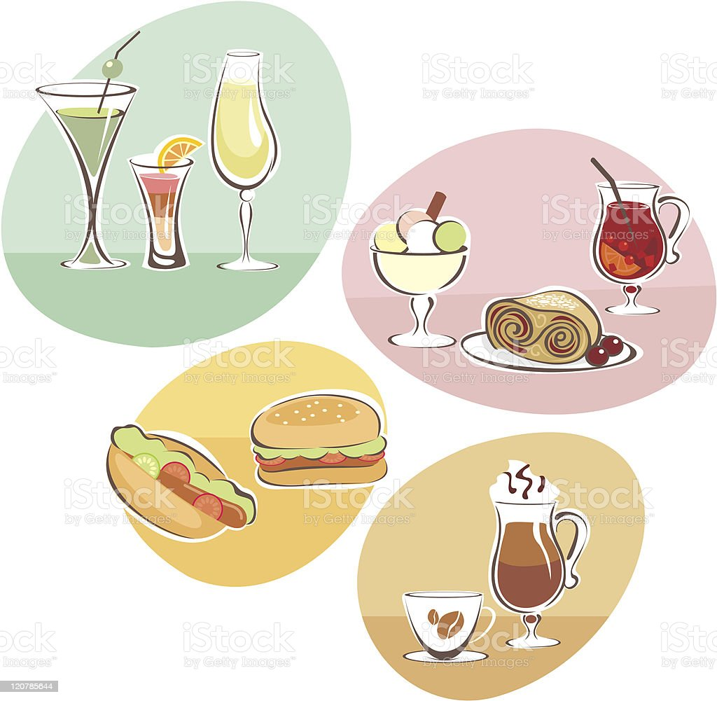 Food and Drinks set royalty-free stock vector art