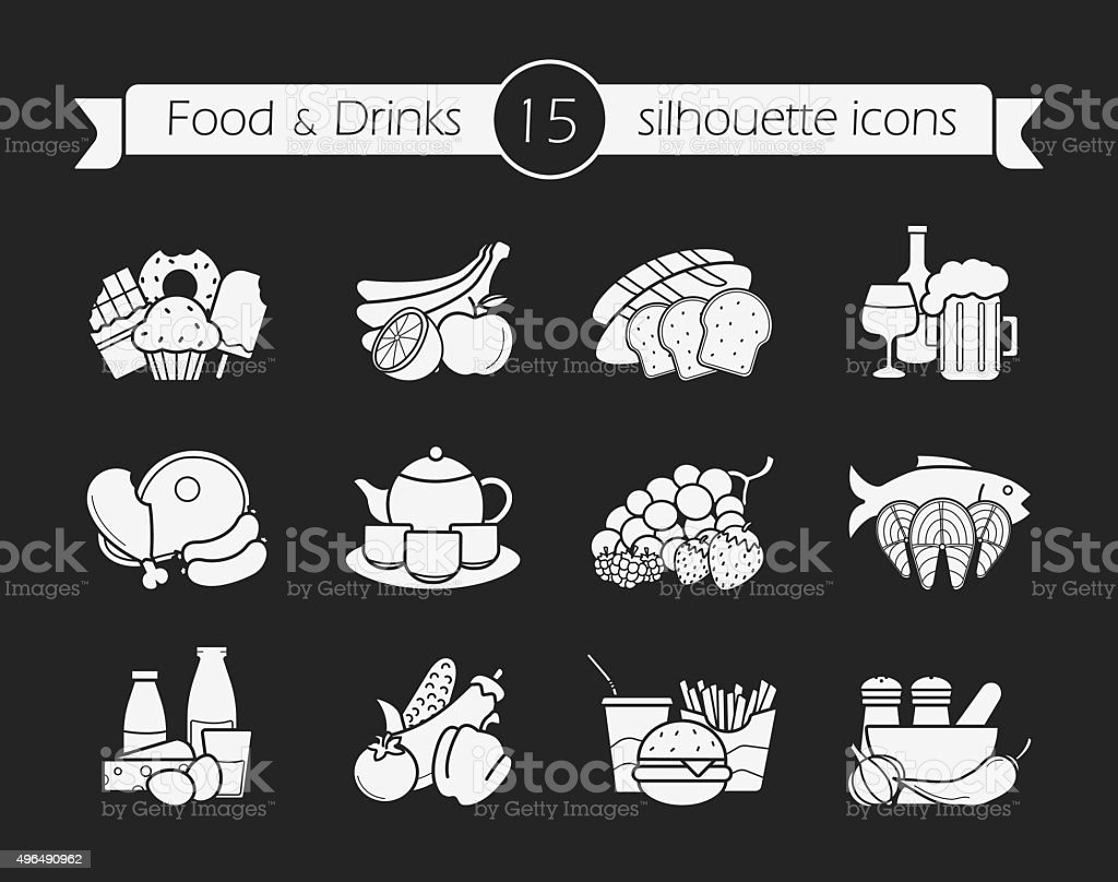 Food and drinks silhouette icons set. Chalk vector art illustration