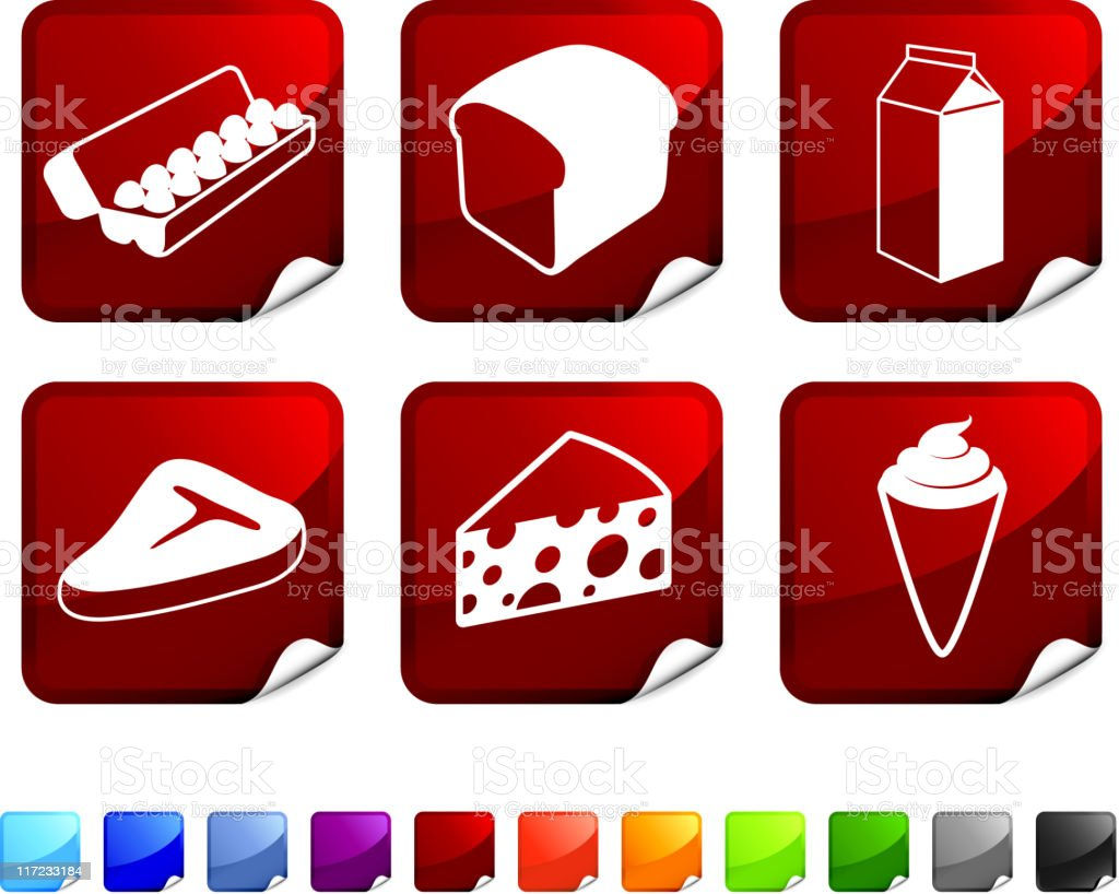 Food and groceries royalty free vector icon set royalty-free stock vector art