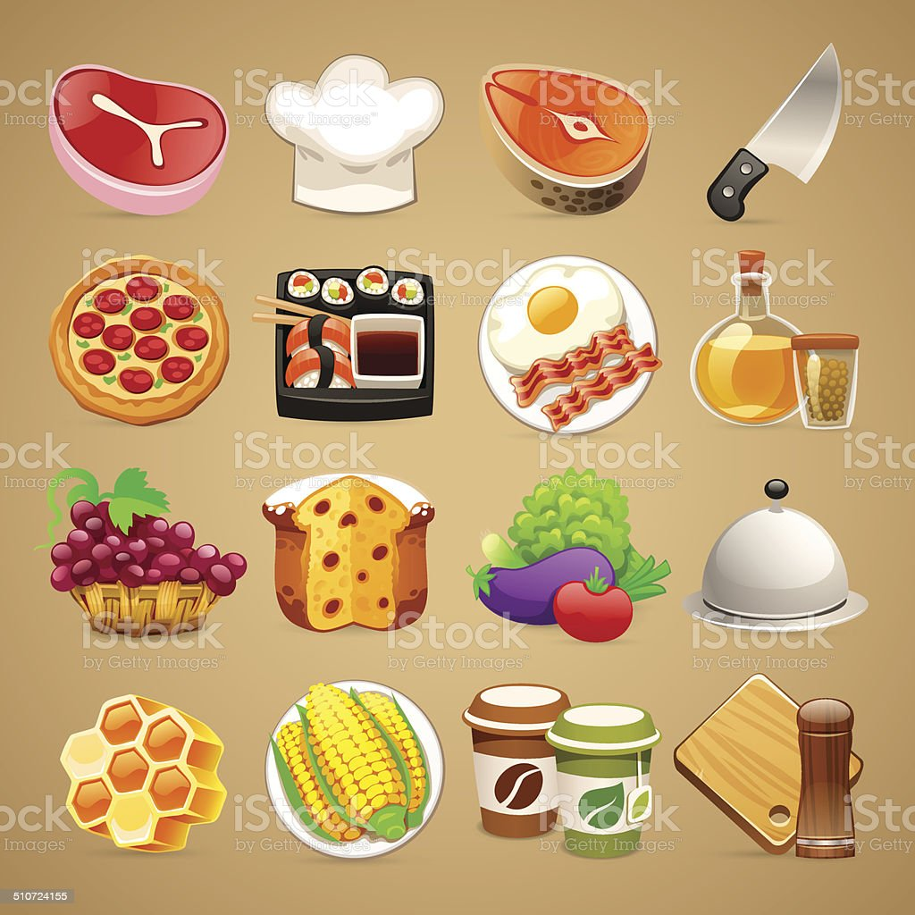 Food and Kitchen Accessories Icons Set1.1 vector art illustration