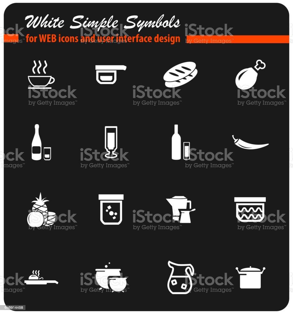 food and kitchen icon set vector art illustration