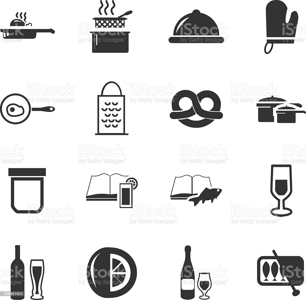 Food and kitchen icons set vector art illustration