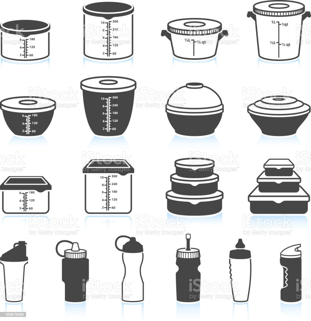 Food and Liquid Containers black & white icon set vector art illustration