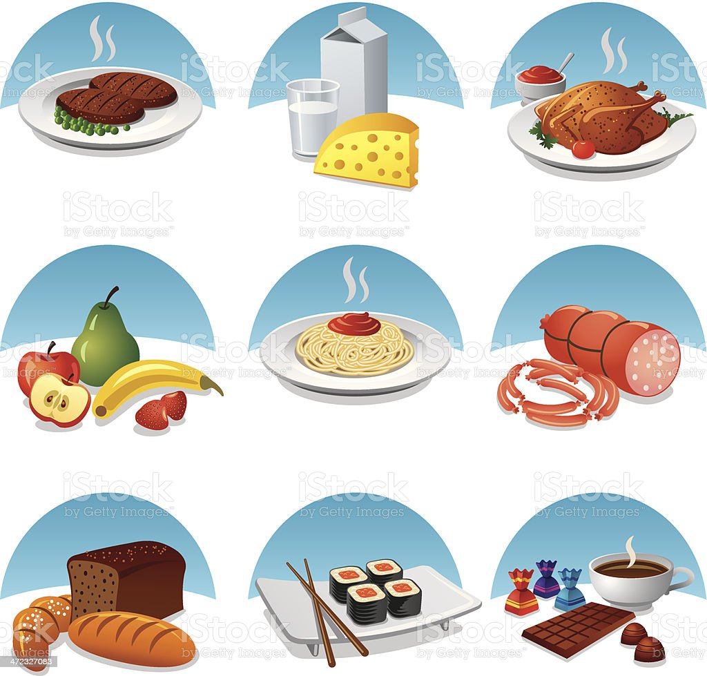 food and meal icon set royalty-free stock vector art