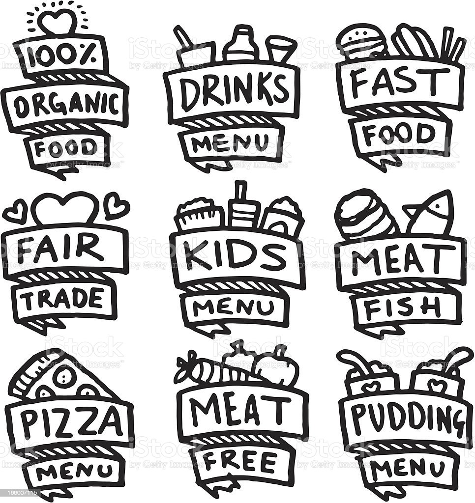 Food and menu hand drawn icon set vector art illustration