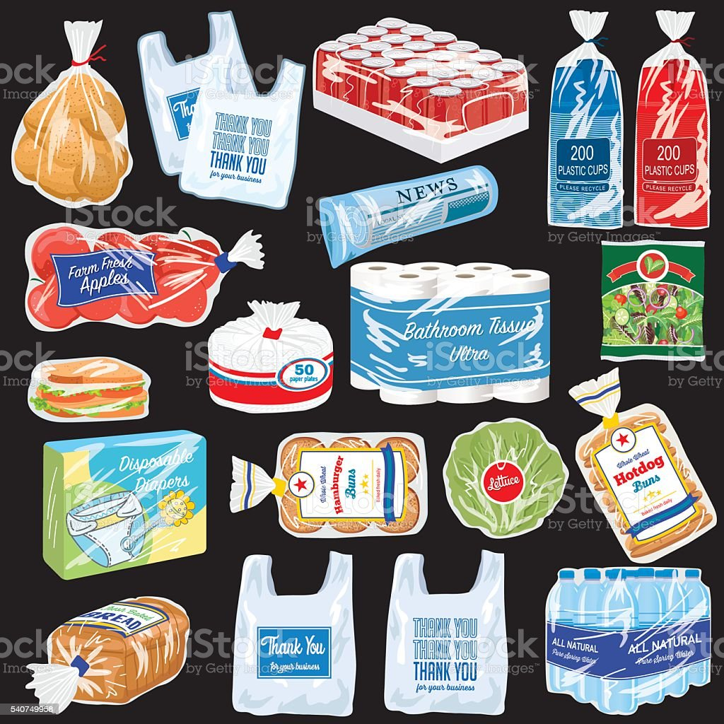 Food and Products That Are Wrapped In Plastic vector art illustration
