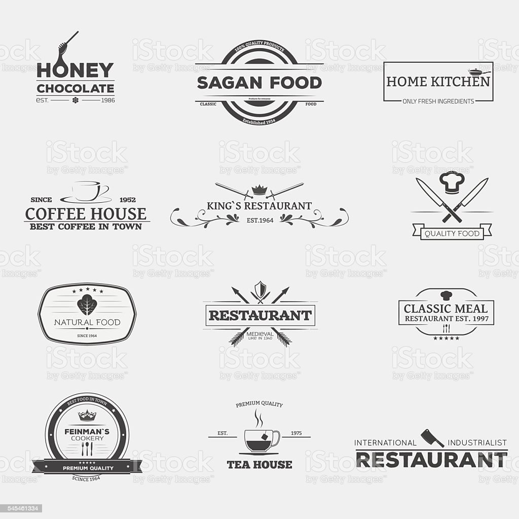 Food and restaurant emblems vector art illustration