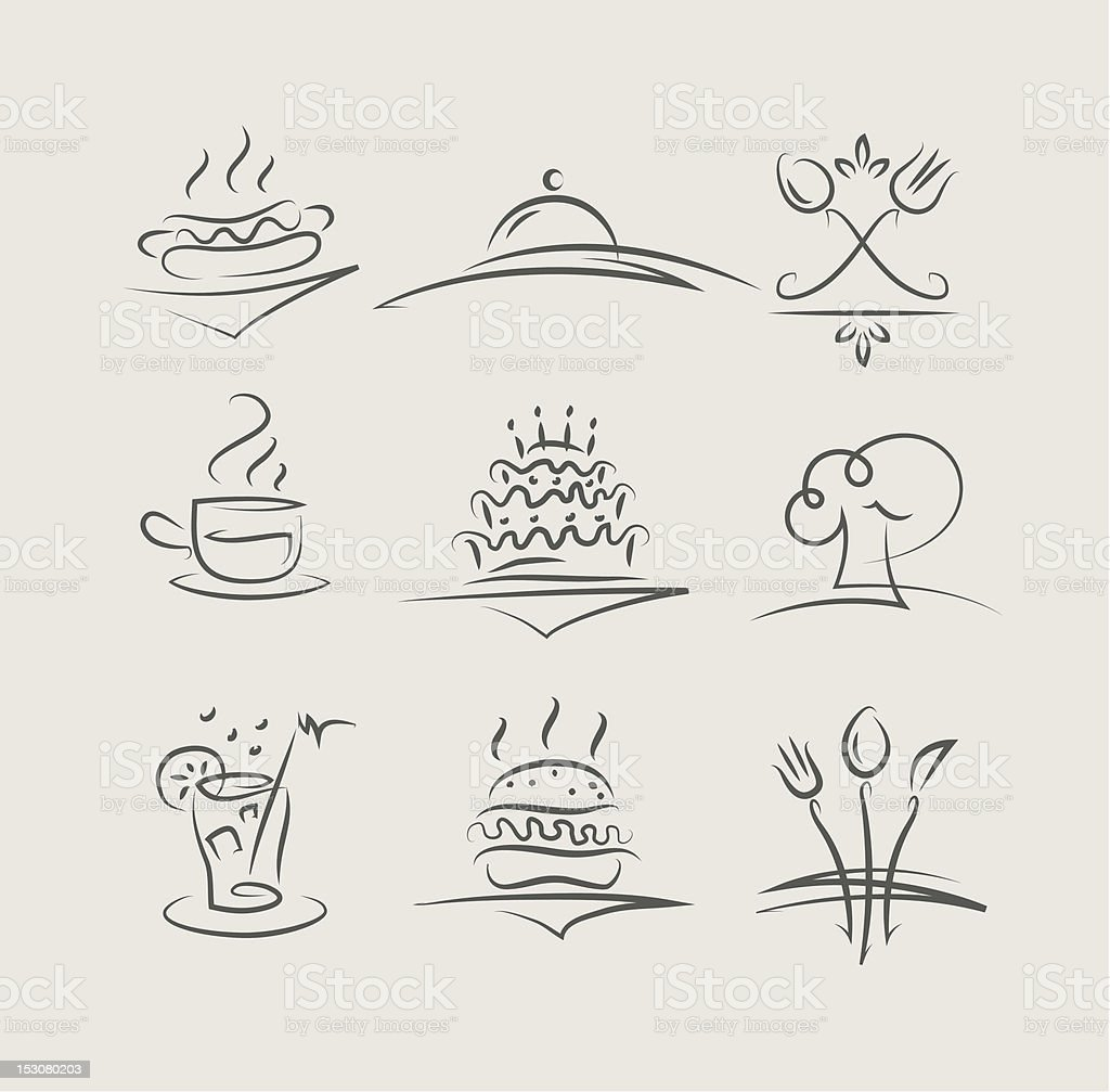 food and utensils set of vector icons royalty-free stock vector art