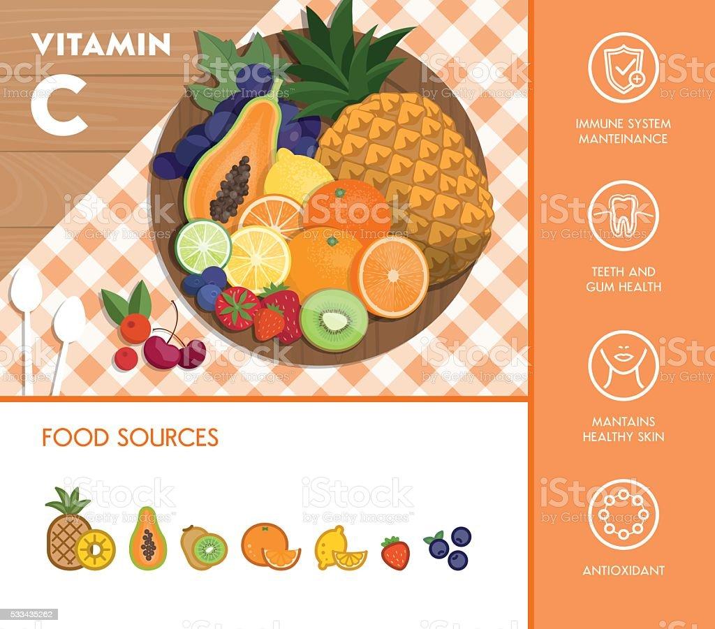 Food and vitamins vector art illustration