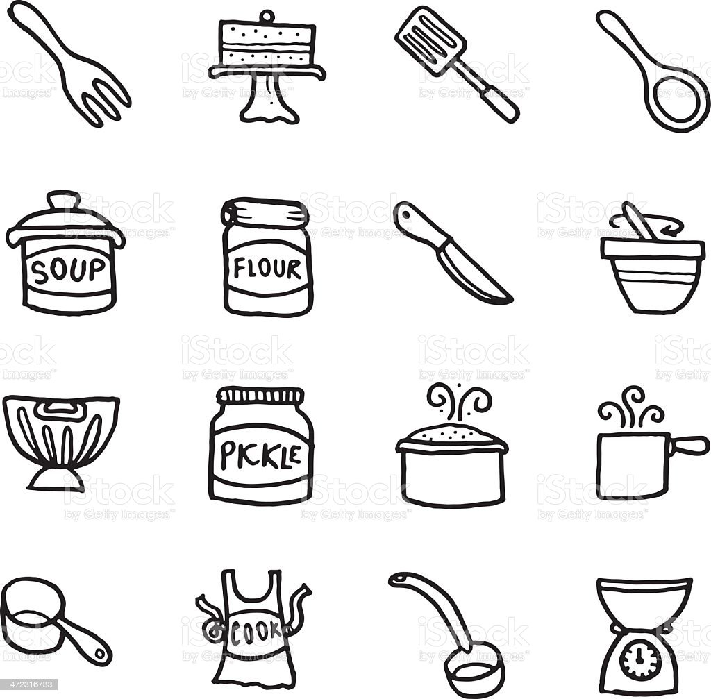 Food baking and equipment doodle icon set vector art illustration