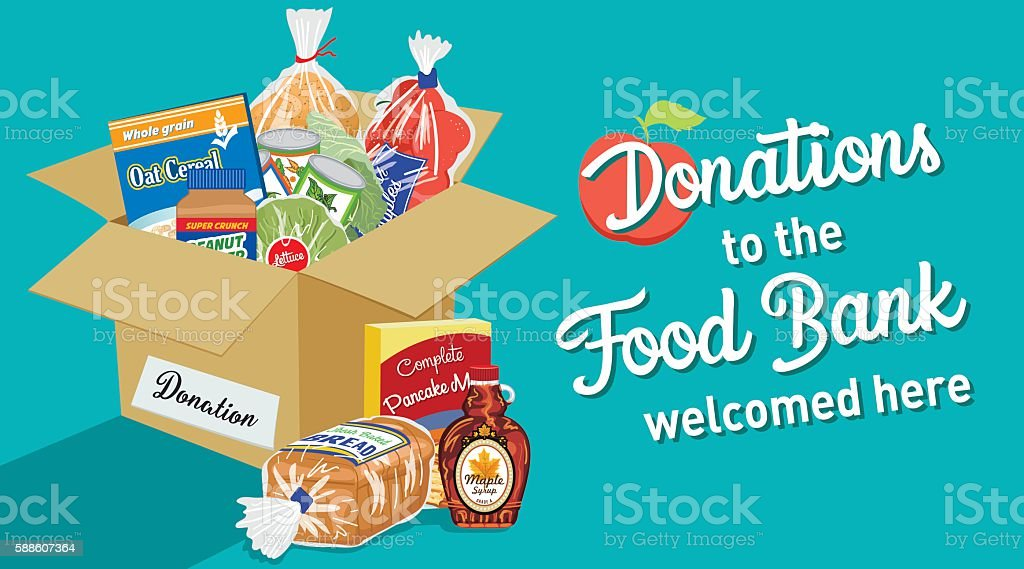 Food Bank Donation Concept Banner vector art illustration