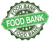 food bank green round retro style grunge seal