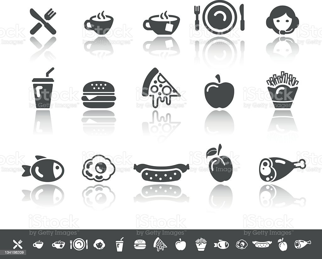 Food & Beverage Icons | Simple Grey vector art illustration