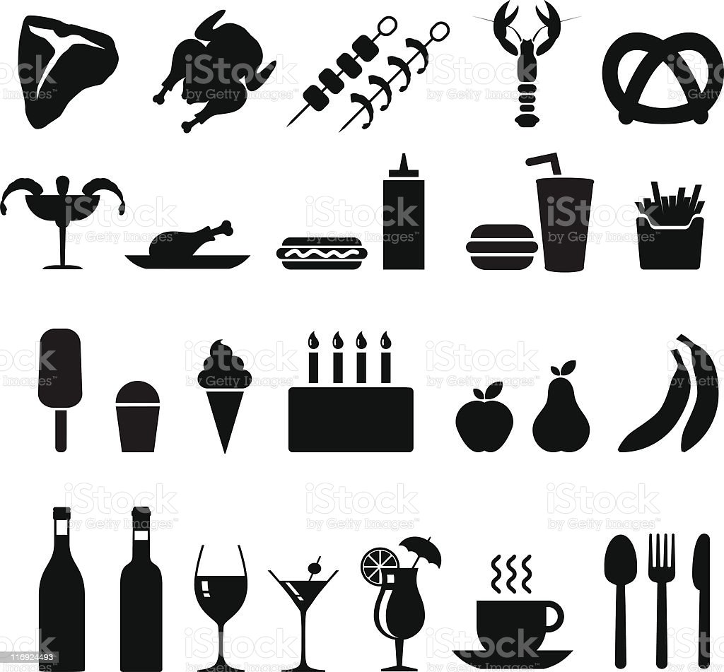 food black and white icon set vector art illustration