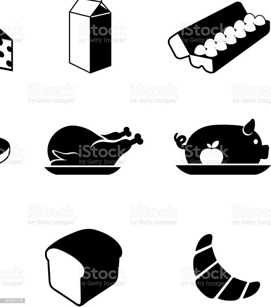 food black & white royalty free vector icon set royalty-free stock vector art