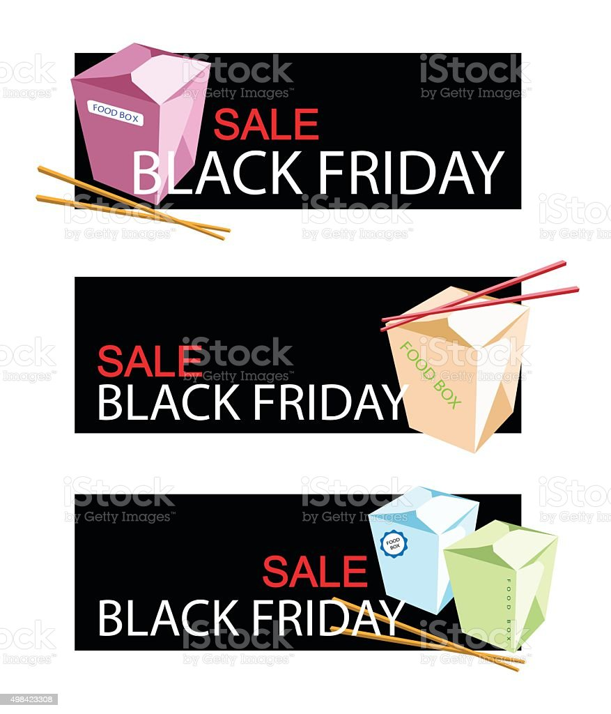 Food Boxs on Black Friday Sale Banner vector art illustration