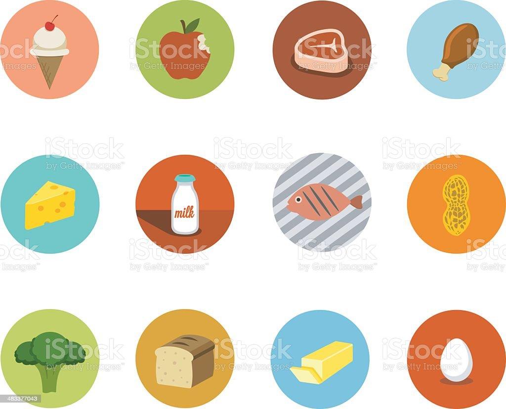 Food Circle Icons royalty-free stock vector art