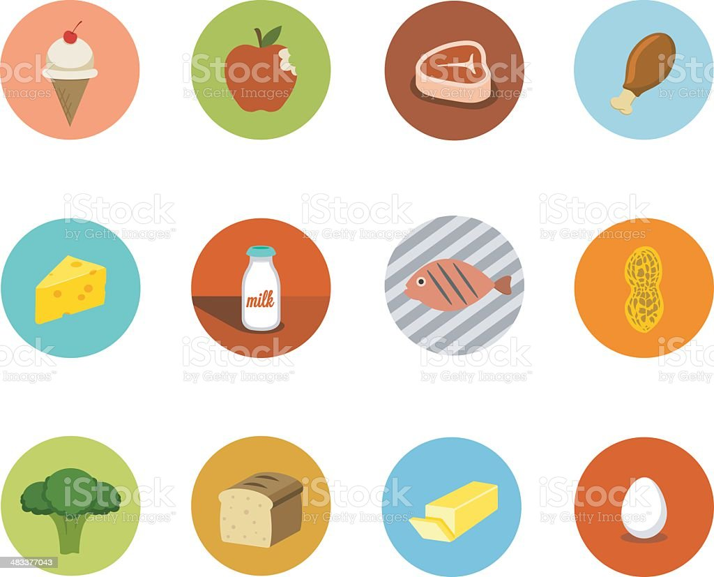 Food Circle Icons vector art illustration