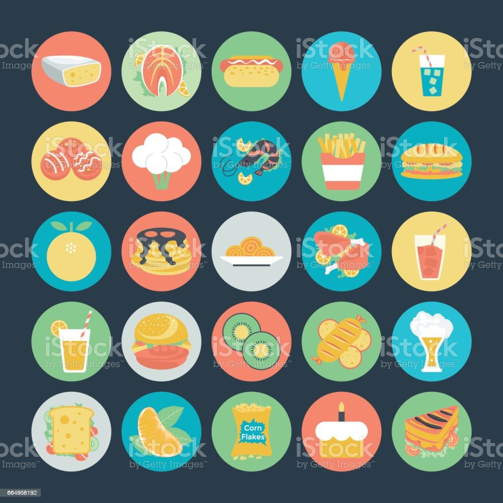 Food Colored Vector Icons 3 vector art illustration