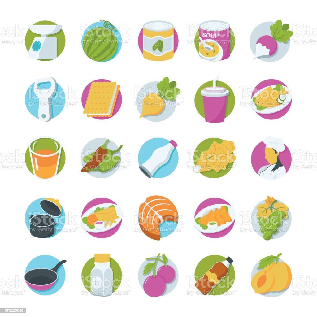 Food Colored Vector Icons 4 vector art illustration