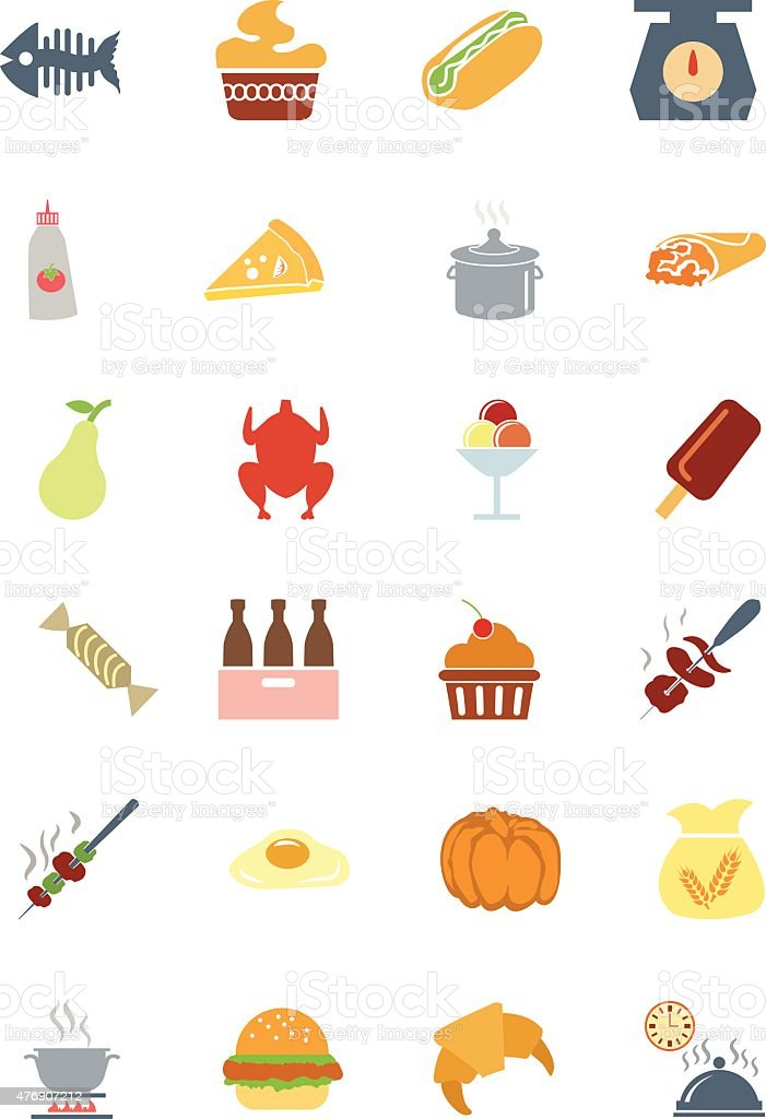 Food Colored Vector Icons 6 vector art illustration