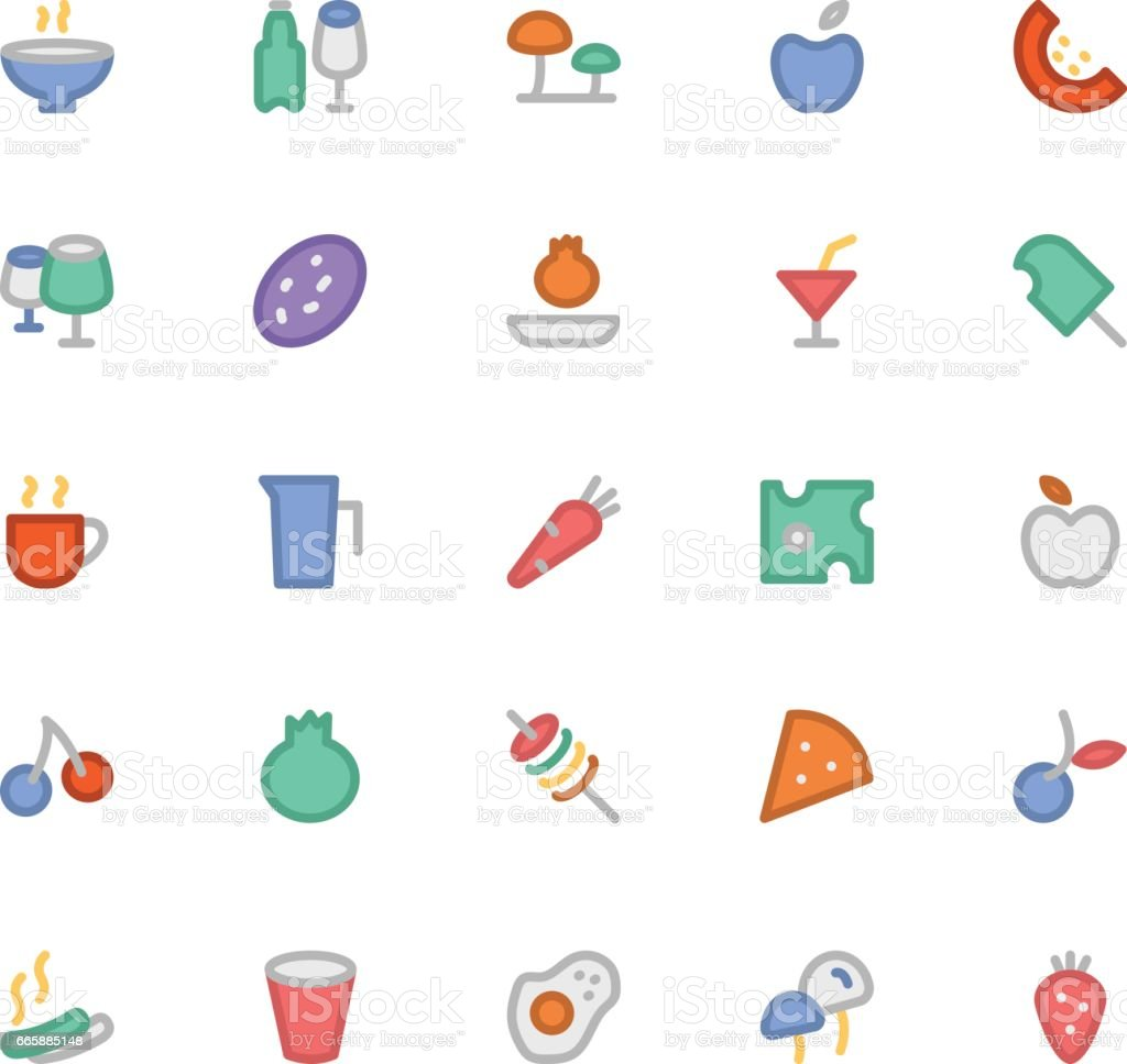Food Colored Vector Icons 9 vector art illustration