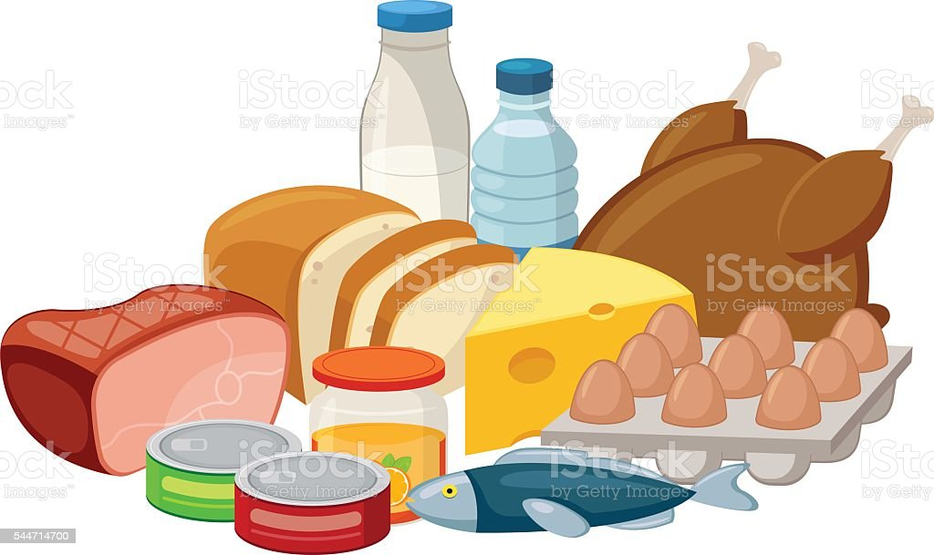 Food composition isolated on white. vector art illustration