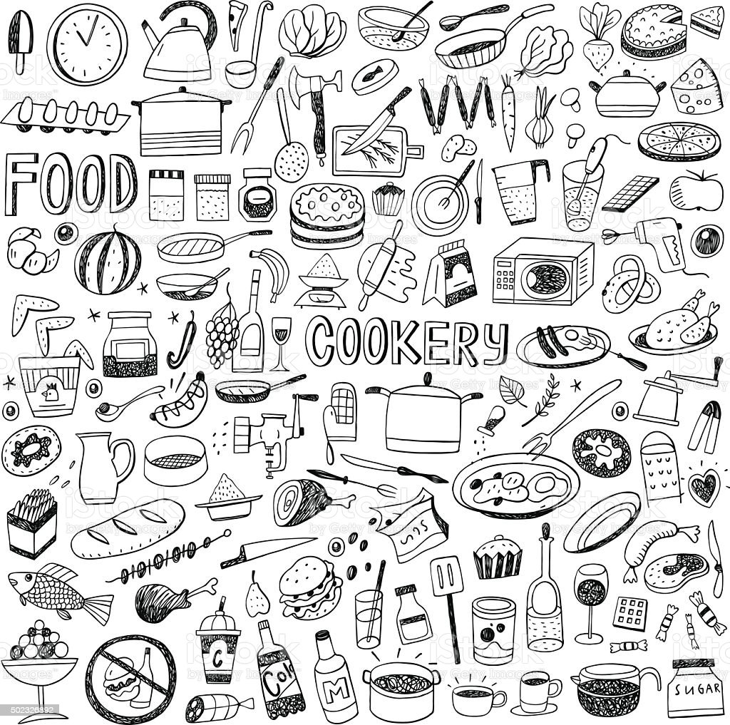 food cookery doodles vector art illustration