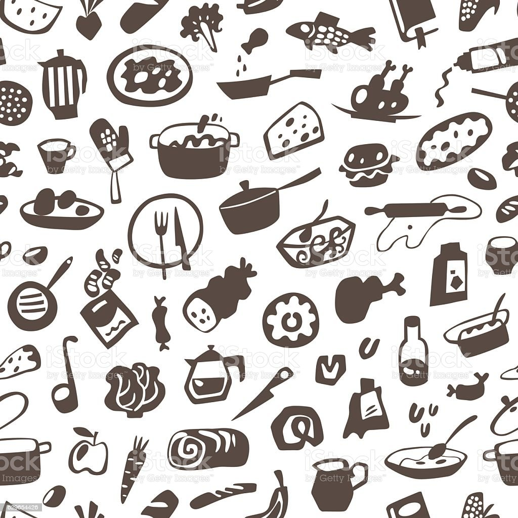 food , cookery - seamless vector background vector art illustration
