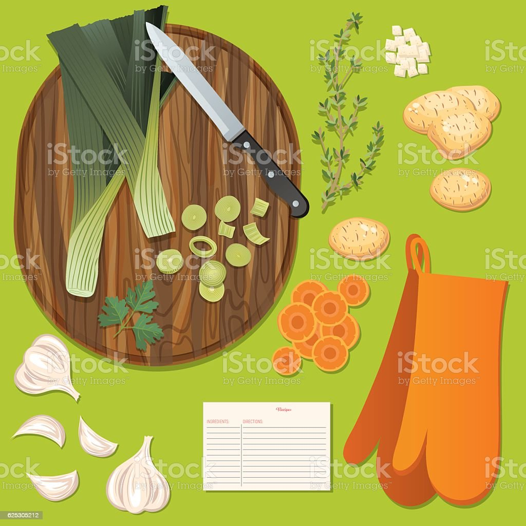 Food Cooking Flat Lay On A Bright Background vector art illustration
