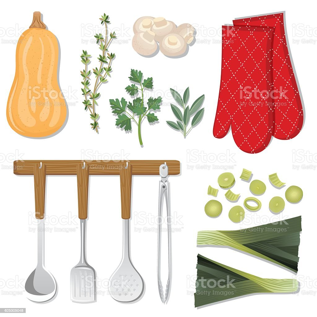 Food Cooking Flat Lay On A White Background vector art illustration