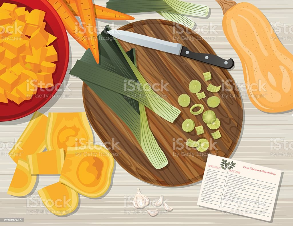 Food Cooking Flat Lay On A Wood Background vector art illustration