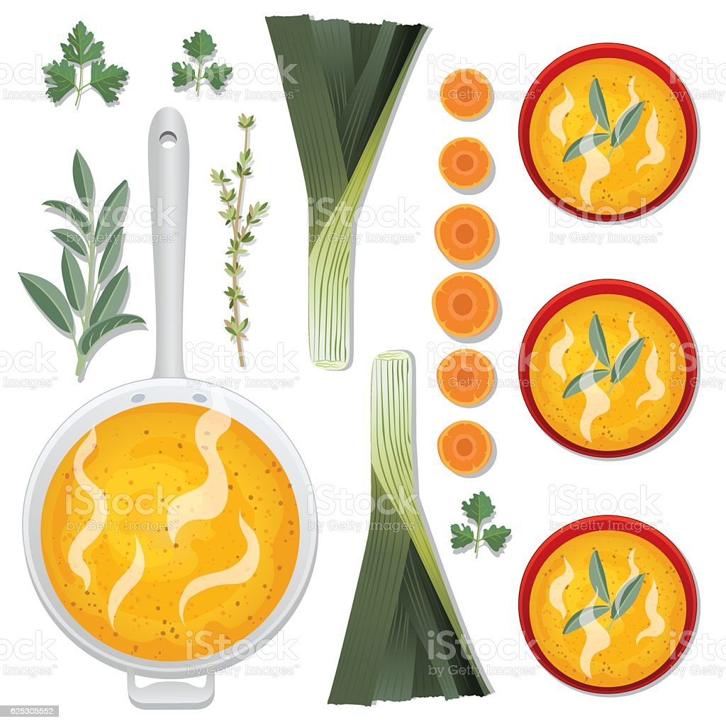 Food Cooking Flat Lay - Soup vector art illustration