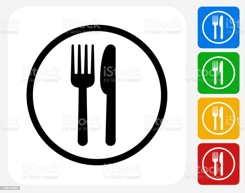 Food Court Sign Icon Flat Graphic Design vector art illustration