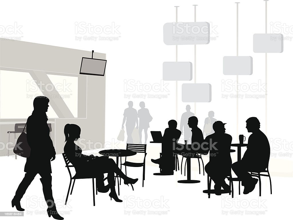Food Court Vector Silhouette royalty-free stock vector art
