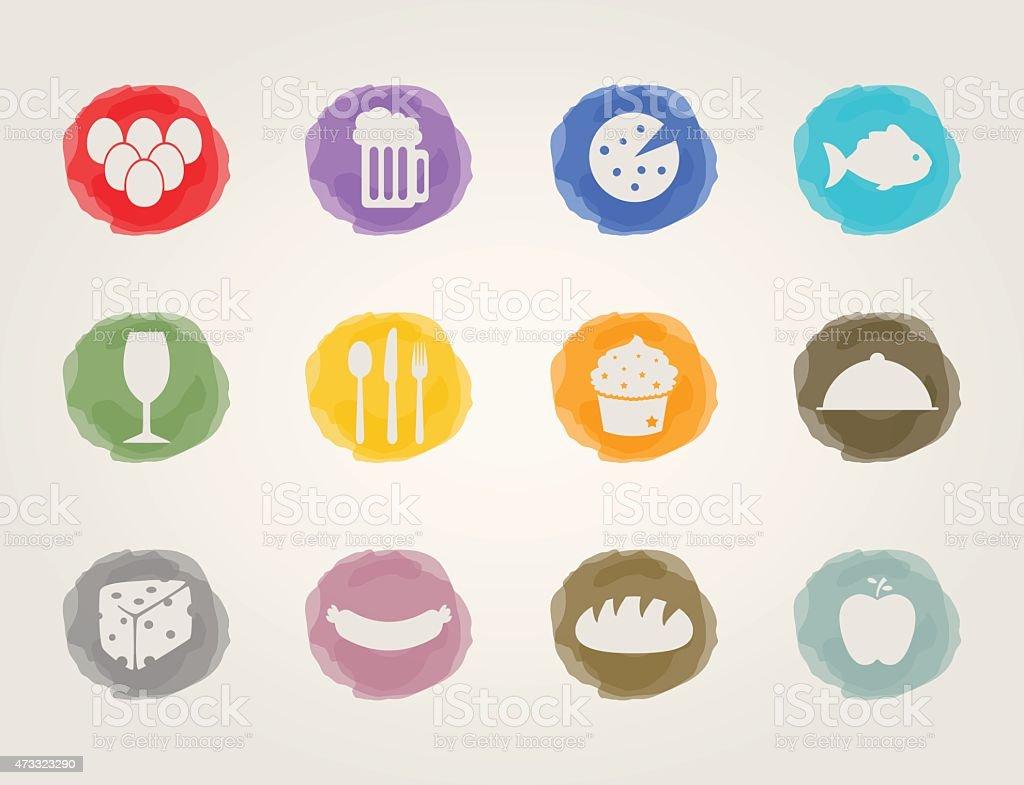 food deli icons vector art illustration