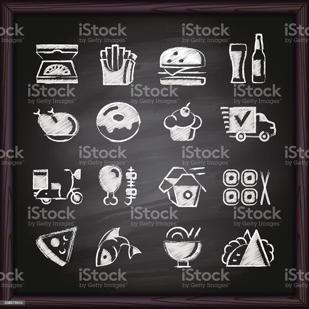 Food Deliver chalkboard icons vector art illustration