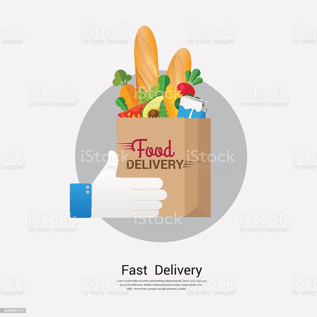 Food delivery  business concept design. vector art illustration