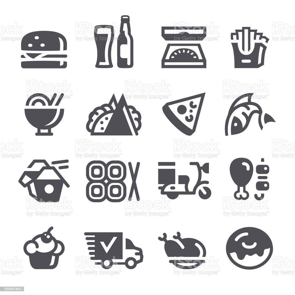 Food delivery icons vector art illustration