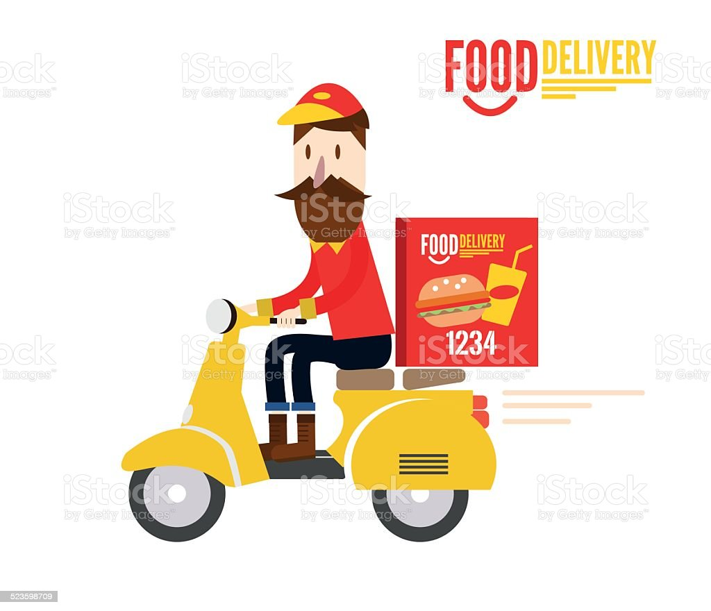 Food delivery man is riding yellow motor bike. vector art illustration