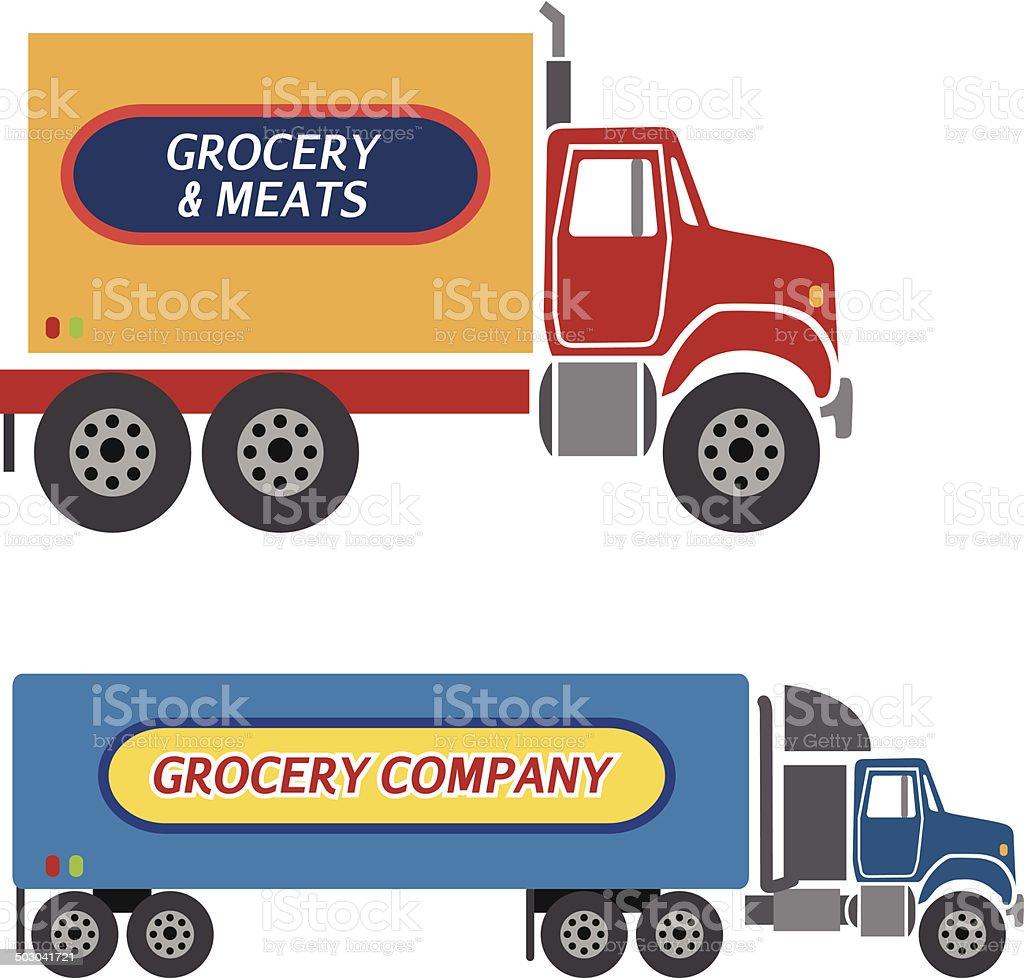 food delivery trucks vector art illustration