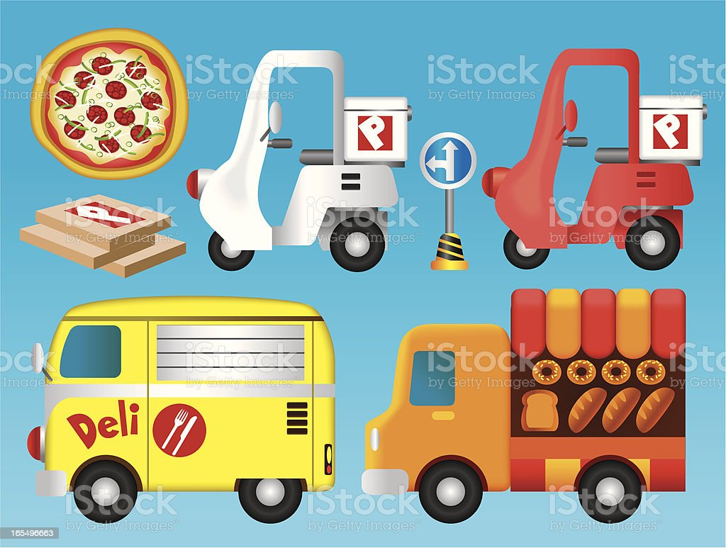 Food Delivery Vehicle Collection vector art illustration